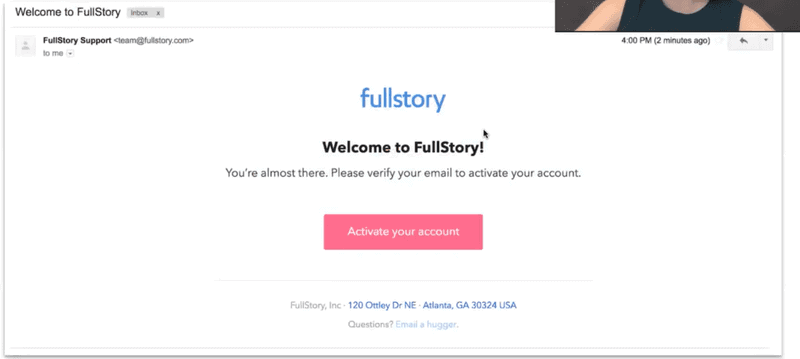 FullStory's redesigned onboarding sequence step 3